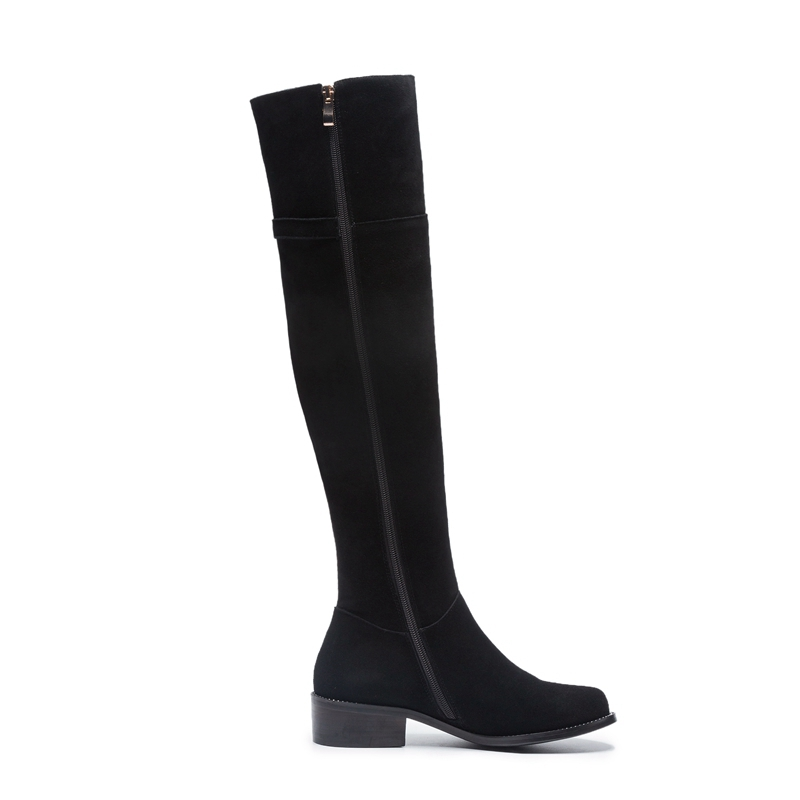 ENMAYER Woman Over The Knee High boots Winter Causal Pointed toe Real Leather Thigh High boots Slip on Thick heels Zipper CR1988 in Over the Knee Boots from Shoes