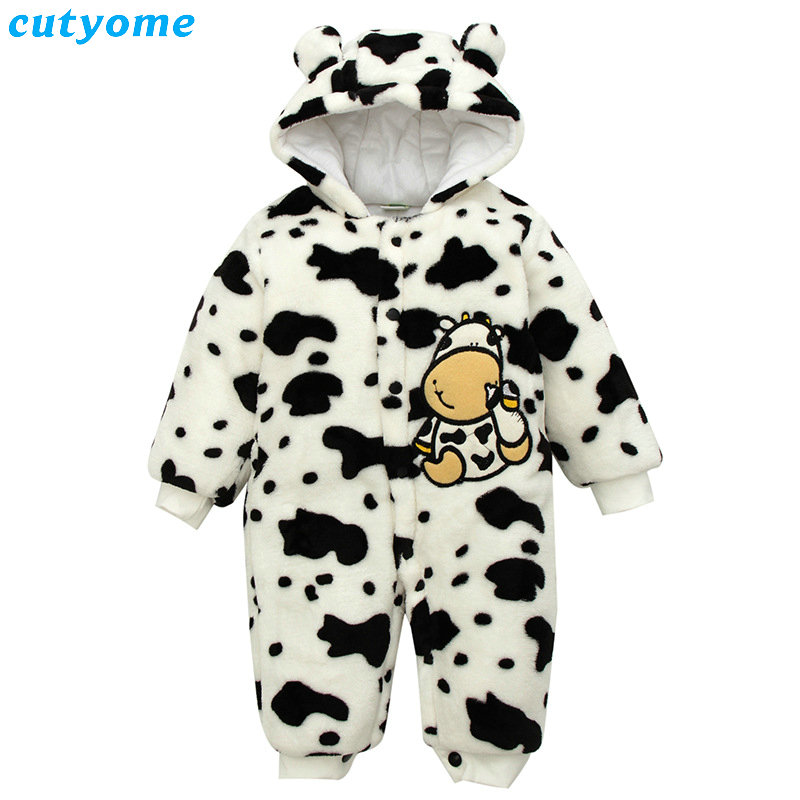 Baby Winter Rompers Fleece Infant Boys Girls Warm Overalls Clothes Animal Dot Newborn Hooded Jumpsuits Clothing Padded Snowsuits unisex baby boys girls clothes long sleeve polka dot print winter baby rompers newborn baby clothing jumpsuits rompers 0 24m