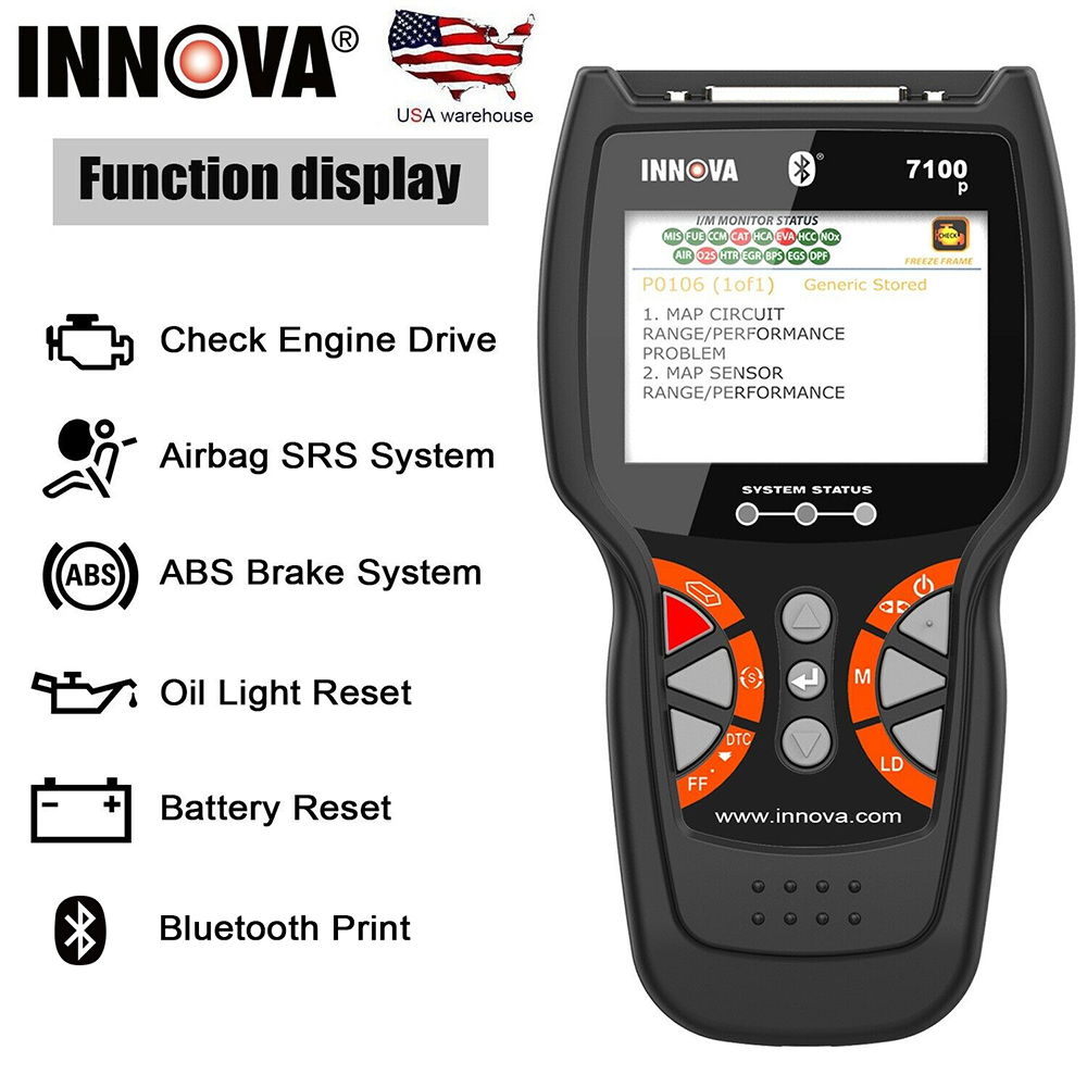 Innova 7100P Code Reader Scanner OBDII OBD 2 CAN ABS SRS Airbag Oil Battery US