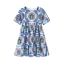 Girls Dress Children New Girls Summer Kids Dresses For Girls Floral A-Line Dress Girl Draped O-Neck Dresses