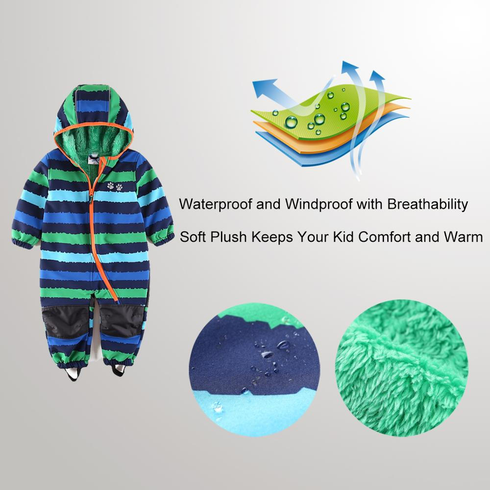 Image 4 - UmkaUmka Boy softshell romper water repellent and windproof to mid season hooded zipper baby clothes best sell-in Rompers from Mother & Kids