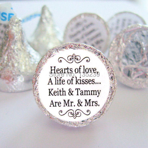 Mr. and Mrs. Kisses Stickers Personalized Round Candy Wedding Labels Favors  - Set of