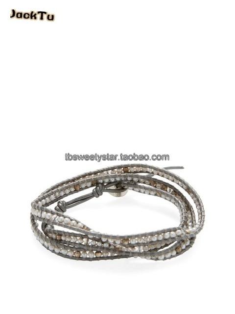 glass pearl mix laser stone grey leather bracelet