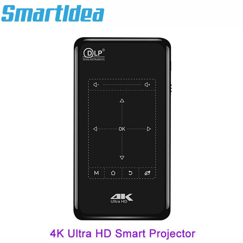 Smartldea 4K Mini Mobile Projector Android 6 0 BT4 1 Portable HD Proyector Beamer 5000mAh Battery