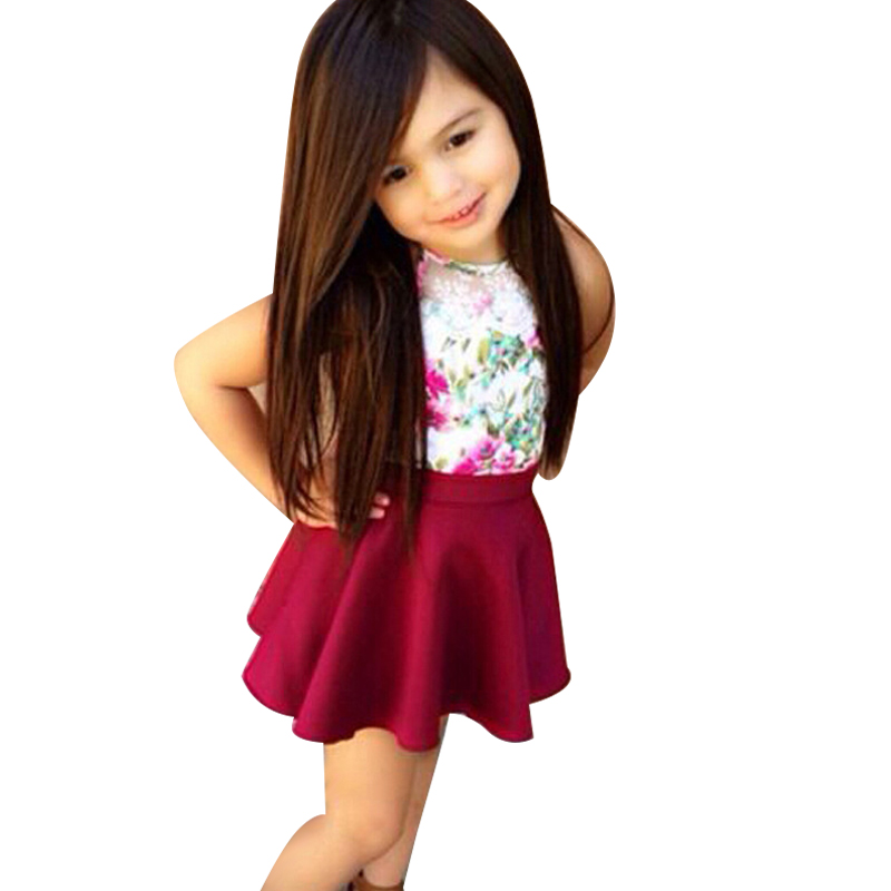 Children Girls Clothing Set Summer Floral Vest Top + Red Skirts 2pcs Baby Girls Clothing Set Toddler Girl Clothes Infant Costume fashion kids baby girl dress clothes grey sweater top with dresses costume cotton children clothing girls set 2 pcs 2 7 years