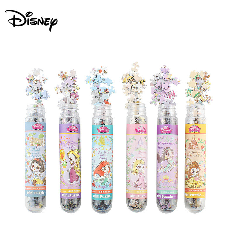 Disney 150 Piece Test Tube Puzzle Princess Fashion Flat Jigsaw Puzzle Mini Test Tube Puzzle