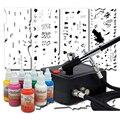 Mujer Chica Arte Del Clavo Kit Aerografo profesional con Stencil Set Sello y 8 Colores de Tinta Del Arte Del Clavo