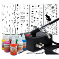 Professional Woman Girl Nail Art Airbrush Kit with Stencil Stamp Set and 8 Nail Art Colors Ink