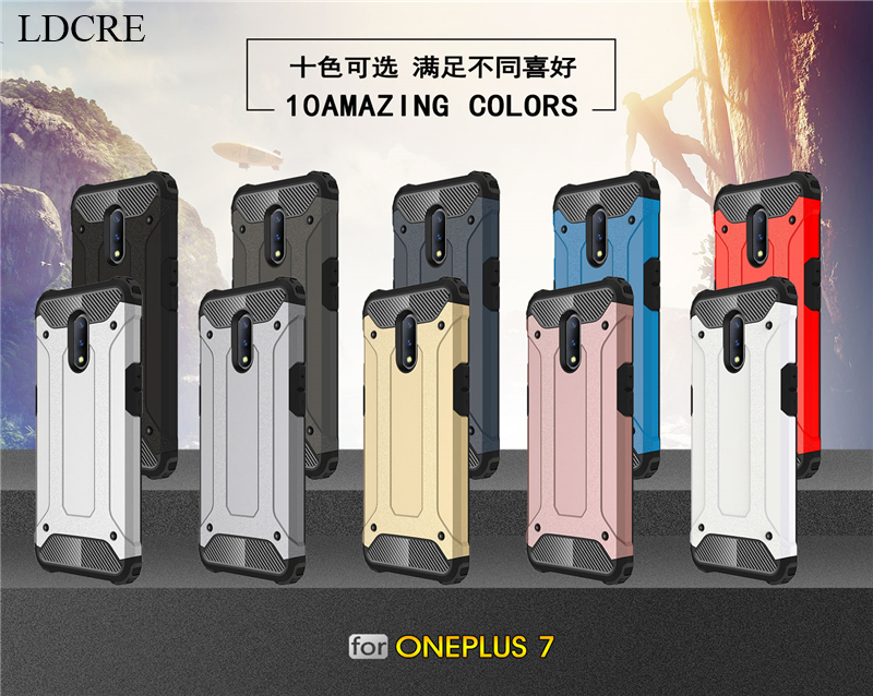 For Oneplus 7 Case Shockproof Armor Rubber Heavy Duty Back Fundas Phone Case For Oneplus 7 Cover For Oneplus 7 Case in Fitted Cases from Cellphones Telecommunications