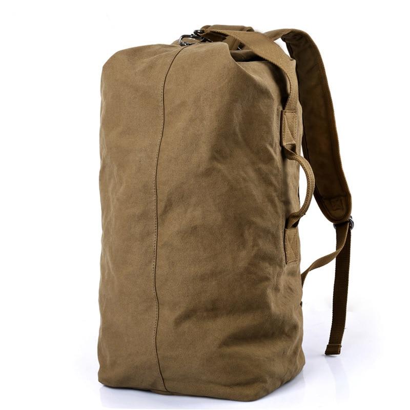 2019 New Kaka Brand Vintage Men Leisure Travel Backpack Portable Canvas Backpack Women Retro Bucket Backpack Big Capacity Black