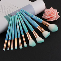 Coloured Glaze Stone 10Pcs Makeup Brush Set Blue Gemstone Makeup Brush Cosmetics Blusher Powder Eyeshadow Eyebrow