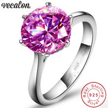 Фотография Vecalon Fine Jewelry 925 Sterling Silver solitaire ring 5A Pink Zircon Cz Engagement wedding Band rings for women Bridal Gift