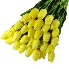 Горячие Продажи 10 ШТ. Новый Тюльпан Искусственные Цветы Латекс Настоящее Сенсорный Свадебные Свадебный Букет Home Decor