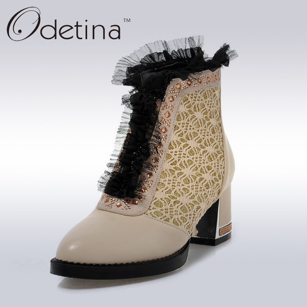 Odetina 2017 Spring Sweet Lacy Women Ankle Boots Rhinestones Patchwork Chunky Heel Short Booties Back Zipper Ladies Shoes lacy plus u1016 3045