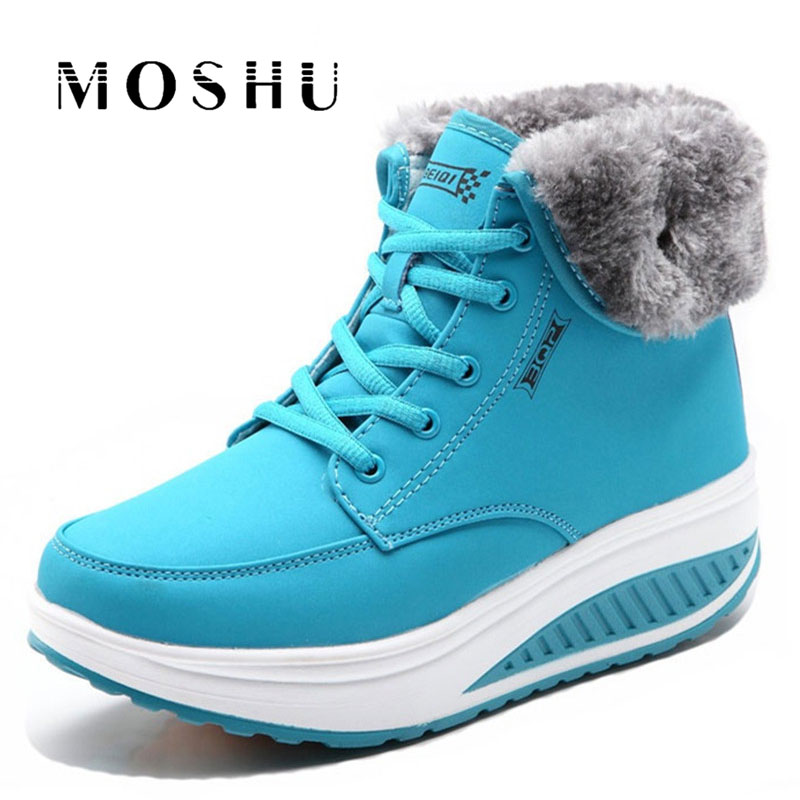 Fashion Women Snow Boots Female Lace Up Platform Sneakers Winter Ankle Boots Wedges Warm Plush Chaussure Femme esveva casual winter women shoes warm fur lace up snow boots wedges heel platform ankle boots black white plush fashion boots