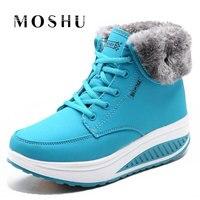 Fashion Women Snow Boots Female Lace Up Platform Winter Ankle Boots Wedges Warm Plush Chaussure Femme