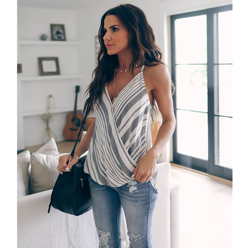 Summer Sexy Sleeveelss Deep V neck Women T shirt 2019 New Casual Spaghetti Striped Tops Tee Elegant Stripe Print Ladies T shirts in T Shirts from Women 39 s Clothing