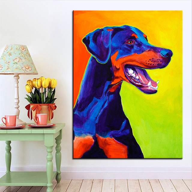 Large size Print Oil Painting doberman miracle Wall painting Home Decorative Wall Art Picture For Living Room paintng No Frame
