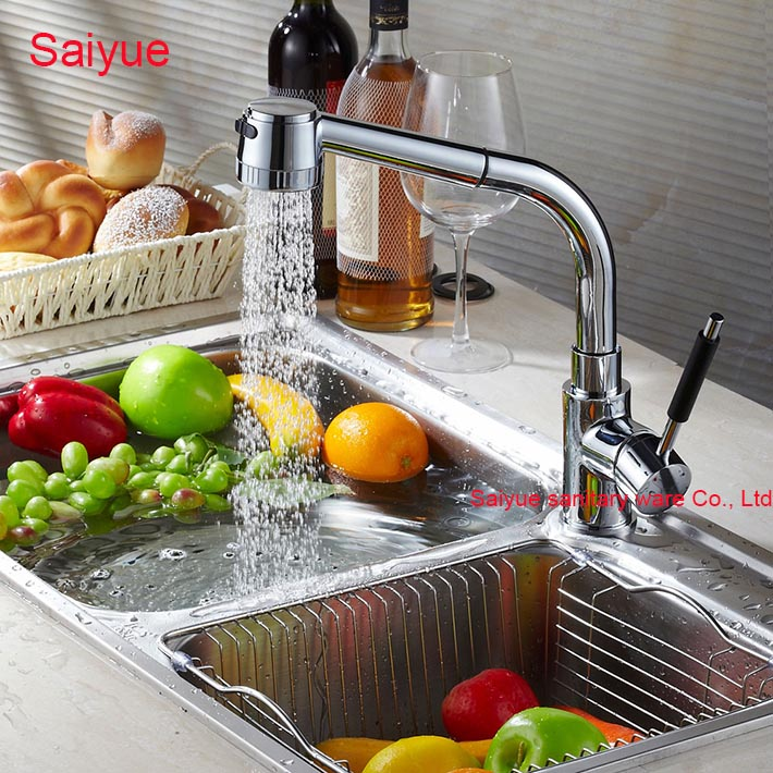 2016 Hot Sale Deluxe Luxury Pull Out Spray Kitchen Cuisine Mixer Tap Chrome Finishing Deck Mounted