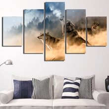 5 Pieces/Set Forest Wolf Winter Animal Prints Painting Canvas Paintings Poster Pictures Home Decor For Living Room(China)