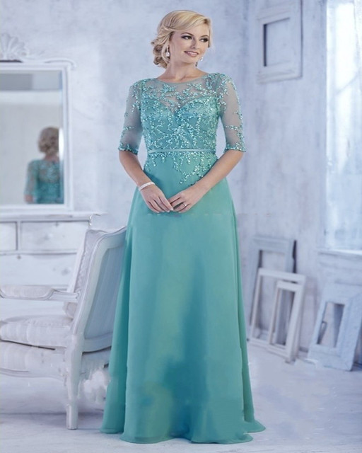 Amazing Mother Of The Bride Dresses Jade Green Chiffon Floor Length Half Sleeve Formal Party Gowns