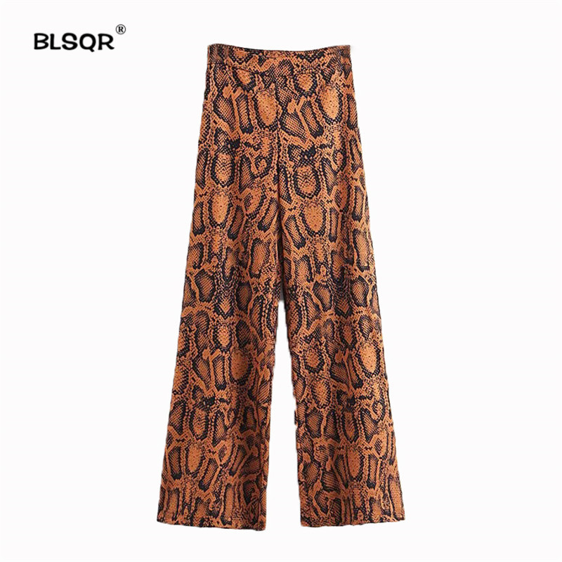 Women Elegant Snake Print   Wide     Leg     Pants   European Style Female Casual 2018 Autumn Full Length Trousers