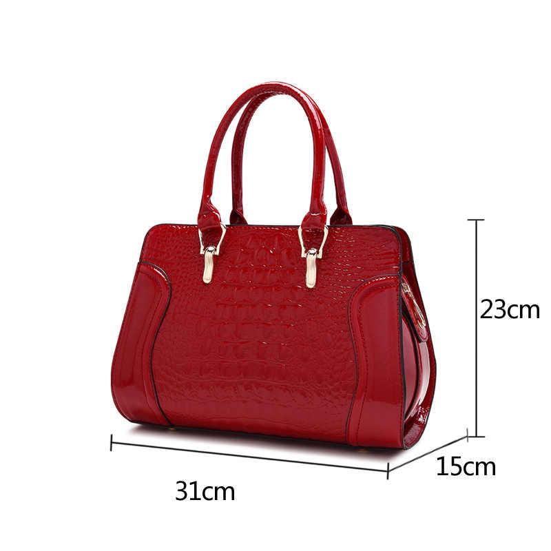 a1a9e9d9ae ... Women leather handles Handbags Crocodile Pattern Leather Shoulder Bag  Brand Designer Ladies Red Wedding Tote Bags. RELATED PRODUCTS