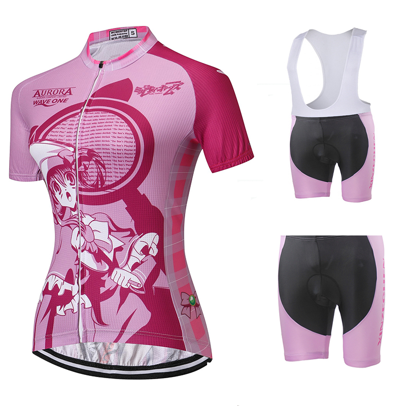 Weimostar Women  Bicycle Clothes Summer Cycling Jersey Cycling Clothing Breathable Bike Shirt Bib Shorts Set Riding Girl Style arsuxeo breathable sports cycling riding shorts riding pants underwear shorts