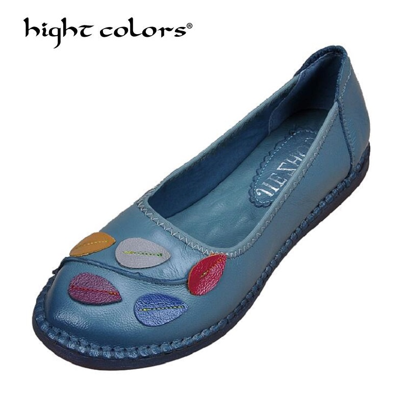 Fashion Casual Shoes Genuine Leather Women Flats Comfortable Handmade Loafers For Woman Flower Women's Flat Shoes