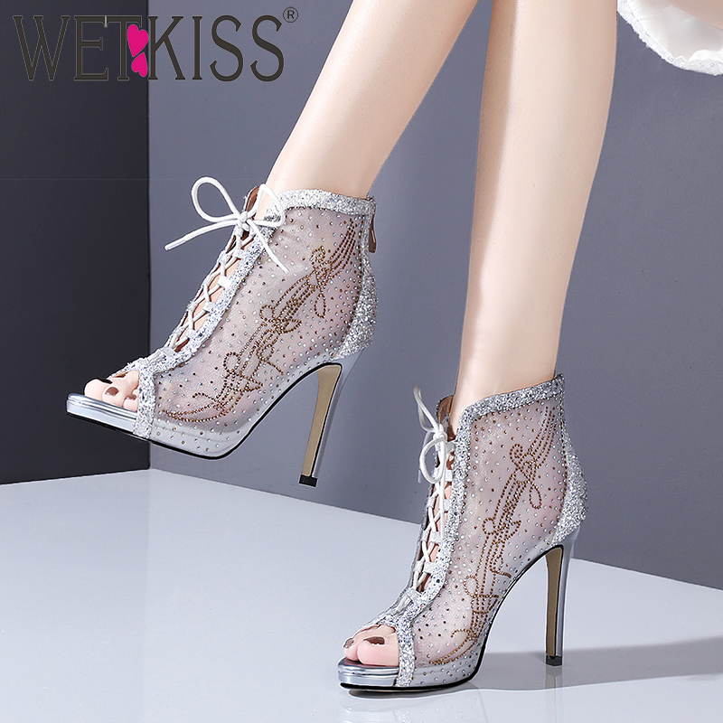 WETKISS Crystal Mesh Ankle Boots Women Lace Up Peep Toe Footwear Party Platform Boots Female High Heels Bling Shoes Woman SummerWETKISS Crystal Mesh Ankle Boots Women Lace Up Peep Toe Footwear Party Platform Boots Female High Heels Bling Shoes Woman Summer