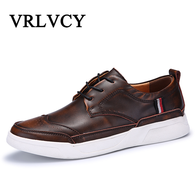 Brand New Retro Style Genuine Leather Men Shoes High Quality Men Casual Shoes Lace Up Casual Shoes Men cbjsho brand men shoes 2017 new genuine leather moccasins comfortable men loafers luxury men s flats men casual shoes