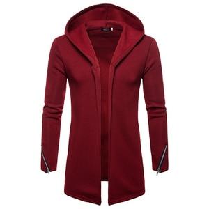 Image 2 - Artı boyutu erkekler rahat Hoodies tişörtü kapşonlu trençkot sonbahar moda uzun slim Fit trençkot erkek palto