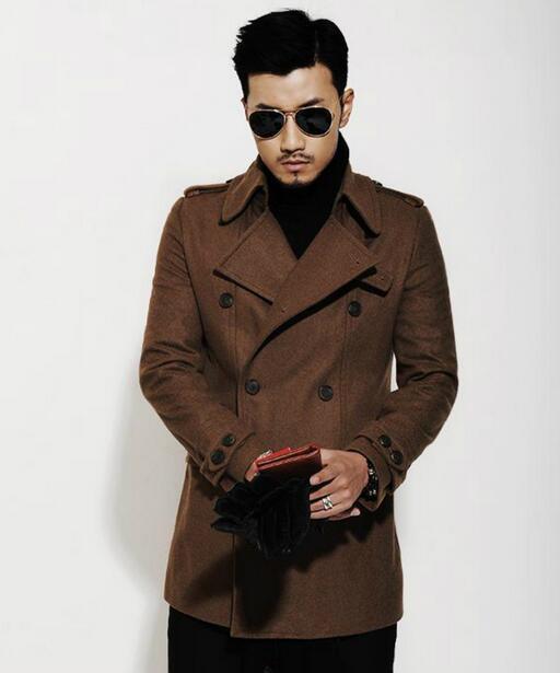 Negro marrón otoño invierno cálido abrigo de lana cruzado hombres - Ropa de hombre - foto 3