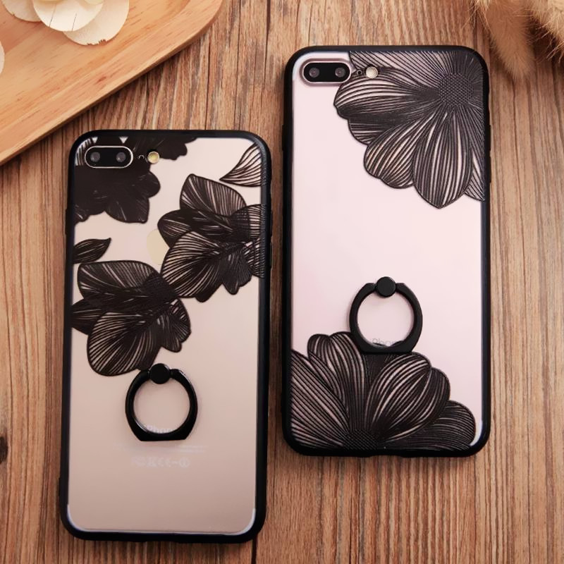 Fashion Black White Lace Flowers Ring Grip Holder Phone Cases For iphone 7 Case For iphone 7 Plus 6 6S Lace Floral Back Cover