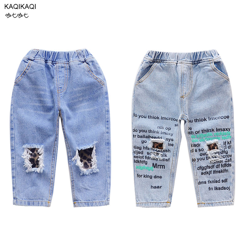 2019 New Leopard broken hole kids jeans for girls Boys Spring Summer jeans for girls Casual Loose fashion Jeans children jeans(China)