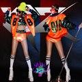 2016 Fashion women stage orange Korea sequins Baseball jacket short set dance bottom female DJ DS stage costume clothing set