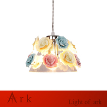 Modern Art colorful ceramic flower led Pendant Lamps Kitchen Island Dining Room Shop Bar Counter Decoration show room