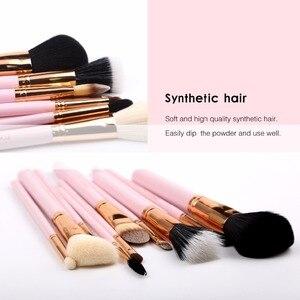 Image 4 - Zoreya Juego de brochas de pelo de cabra, 12 Uds., juego de brochas de maquillaje de lujo colorido, Kit de brochas profesionales, herramienta cosmética de maquillaje para base y colorete