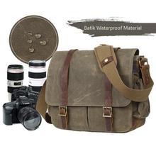 Su geçirmez Batik tuval + deri kamera çantası fotoğraf çantası eski DSLR çantası rahat omuz Messenger fotoğraf çantası