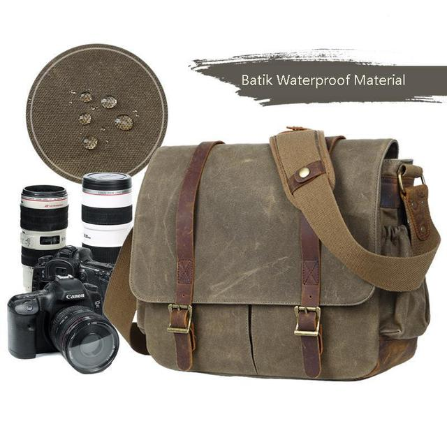 Waterproof Batik Canvas+Leather Camera Bag with Photo Pouch Vintage DSLR Case Casual Shoulder Messenger Photography Bag