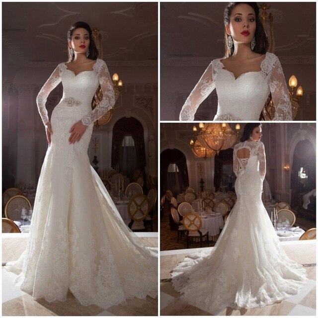vestidos de novia casamento pura manga larga de encaje sirena