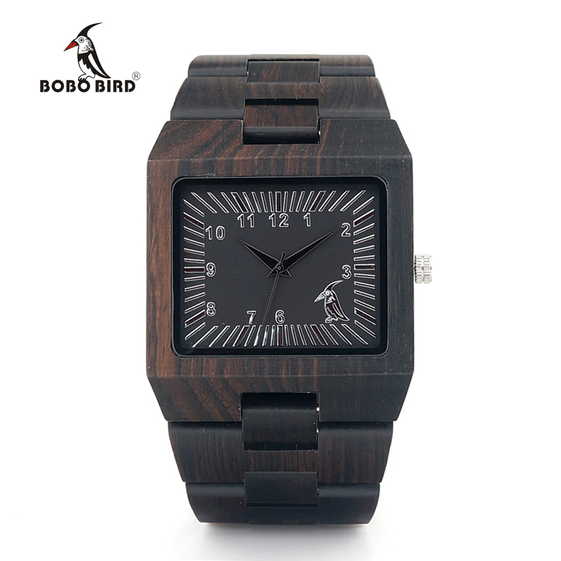 BOBO BIRD Ebony Trä Rektangel Quartz Armbandsur Man Top Luxury Band - Herrklockor - Foto 3