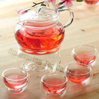 Elegant 500ml Glass teapot with infuser/filter+ 4/6 Cups + Warmer+candle,tea set for brew herbal/flower/black/puer/bloom tea