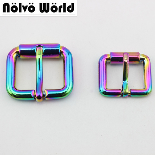 10pcs 50pcs Rainbow 20mm 24mm High quality Polished r turnbuckle zinc alloy  square pin buckle bags belts buckles round edge NEW 0e15c0d60c55