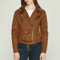 2019 New Fashion Autumn Winter Women Thick Faux Cashmere Soft Suede Leather Jackets Lady England Style Matte PU Coats Outerwear