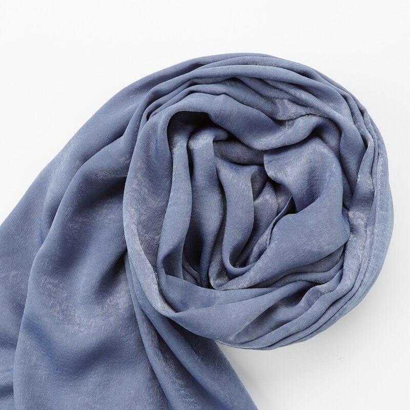 Image 5 - Цельный Новый женский Одноцветный Шелковый платок hijabs  обертывания мягкие длинные мусульманские платки блестящие шарфы  hijabsЖенские шарфы