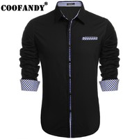 COOFANDY 2017 Male Fashion Men Casual Long Sleeve Turn Down Collar Button Contrast Color Basic Shirt