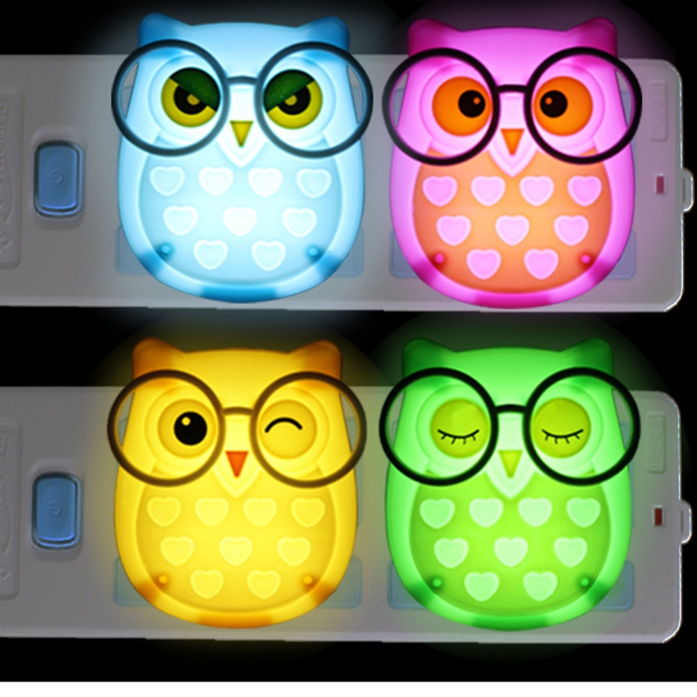 E-SMARTER Nightlight Auto Control Sensor Lamp Mini Owl Led Soft Lights Bedroom Lighting Wall Light EU Edition Automatic Light