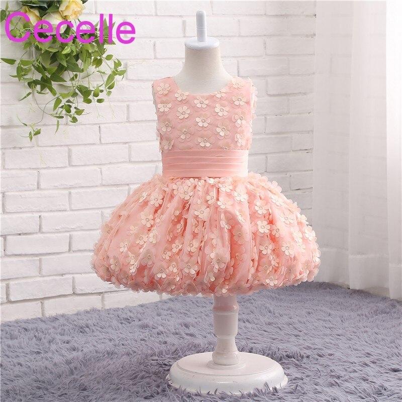 Coral Ball Gowns Short   Flower     Girls     Dress   For Wedding Sleeveless   Flowers   Immature Bride   Dress   Little Bride   Dress