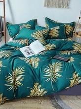 Лист постельное белье банан пальмовых листьев цветы гибискуса Постельное белье темно-зеленый